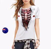 Women Horror Bloody Skeleton Skull Halloween Shirts T shirt tee Costume tops