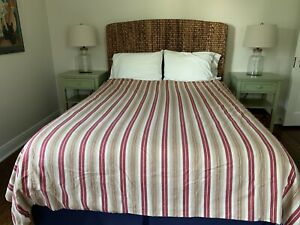Pottery Barn Full / Queen Cotton & Linen Red & Tan Striped Duvet Cover - EUC