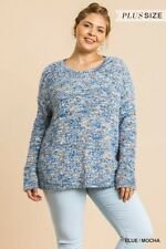 Umgee Blue/Mocha Long Sleeve Pullover Knit Sweater Plus Size