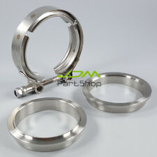 "Stainless Steel 2.5"" Inch 64mm V-Band Clamp Flanges Kit Turbo Exhaust Downpipe"