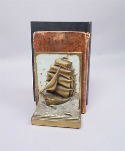 Pair Antique 1910/20 Sailing Ship Bronzed Bookends w Lighthouse by Paul Herzel