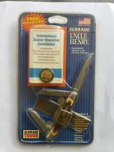Vintage NOS Schrade Uncle Henry 3 Blade Pocket Knife USA w/Collectors Pin ~NEW~
