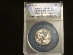 """2019-D 25c (""""FIRST DAY OF ISSUE"""") ANACS MS69 PROOF-LIKE Highest Graded ON EBAY!"""