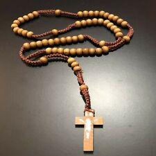 Collana rosario da uomo donna in legno girocollo croce con ciondolo crocifisso