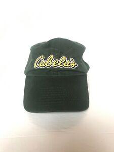 Cabelas Baseball Cap Green Adjustable Hat Embroidered Yellow Logo Strap back