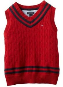 New Tommy Hilfiger Boys Red Vest V-Neck Striped Cable-knit Sweater NWT L (16/18)