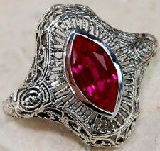 2CT Ruby 925 Solid Genuine Sterling Silver Filigree Ring Jewelry Sz 6
