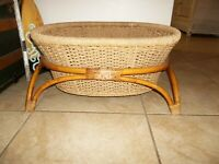 """MID CENTURY BAMBOO STAND WITH LARGE RATTAN BASKET 25L"""" X 19W"""" X 9""""H"""