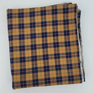 "Vintage Unused Navy & Tan Fall Shades Plaid Flannel Fabric 2.6 yards 44"" W x 94"""