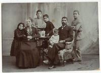 Antique Matted Photo - Foreign Family, Man, Lady,Children-Picture on Table