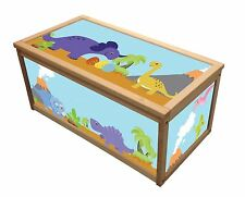 DINOSAUR TREASURE WOODEN TOY BOX / STORAGE UNIT CHILDREN KIDS TOYS CHEST  BOXES
