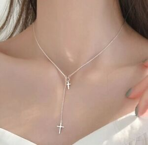 925 Sterling Silver Double Cross Necklace Pendant Chain Crucifix + Bag Womens
