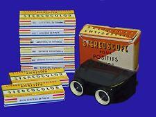 Vtg 1950s French Stereoscope #7 + 48 Color Stereo Slides Lourdes Chateau de Pau