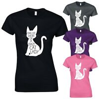 Crazy Cat Lady Cute Funny Kitty Slogan Graphic New Womens T-shirt