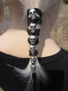 SKULL Black Leather Hair Wrap Tie Ponytail Holder Bead cuff Biker Goth Clothing
