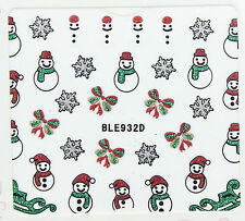 Christmas Glitter Snowflakes Snowman Bows Sleighs 3D Nail Art Stickers Decals