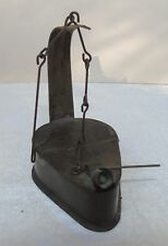 Antique Primitive 18c Tin Whale Oil Betty Lamp Hinged Top w/ Hanger Pick