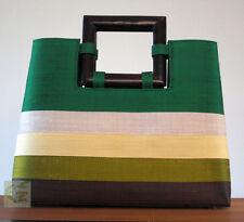 Thai Silk handbag (emerald green/beige/olive green/black stripes)