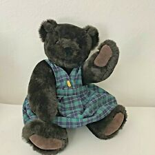 "Vermont Teddy Bear Co.16"" Jointed Plush brown Bear Plaid School Teacher Dress"