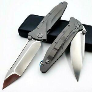 Drop Point Folding Knife Pocket Hunting Survival Wild D2 Steel Titanium Handle S