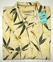 NWT $128 Tommy Bahama Short Sleeve Yellow Floral Shirt Mens L XL XXL Silk Blend