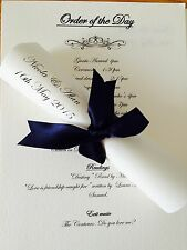 Personalised Wedding Order Of Service, Order Of Day Scrolls X 10 With Ribbon A5
