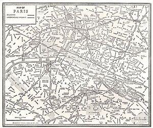1935 Antique PARIS France Street Map Wall Art City Map of Paris France 8194