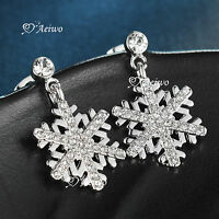 18K WHITE GOLD GF MADE WITH SWAROVSKI CRYSTAL SNOWFLAKES STUD EARRINGS