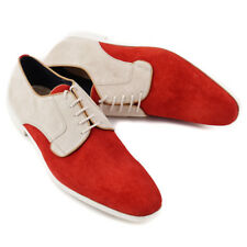 NIB $595 SUTOR MANTELLASSI Red-Ivory Lightweight Suede Derby US 12 Shoes