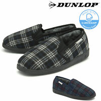 Dunlop Mens Slippers Slip On Twin Gusset Fur Lined Comfy Memory Foam Sizes 7-12