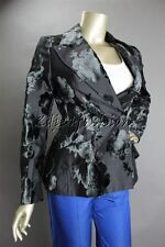New with Tags PRADA Black Rose Velvet Burnout Double Breasted Jacket 4 38