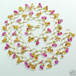 """Hot Pink Yellow Sapphire 18k Solid Gold Necklace 19""""+"""