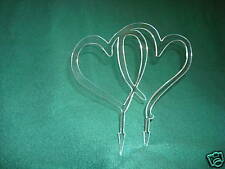 Acrylic Double Hearts Wedding Cake Topper Clear