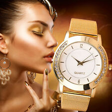 NEW Fashion Women Watch Crystal Golden Stainless Steel Analog Quartz Wrist Watch