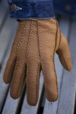Peccary Leather Gloves Hand stitched with Cashmere Lining Mens