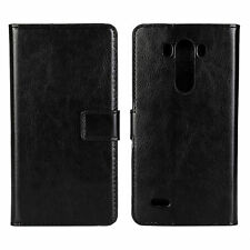 Black Genuine Leather Wallet Card Cash Case Cover Stand for LG G3