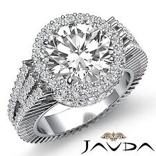 Round Diamond Engagement Halo Pave Set Ring GIA I Color SI1 18k White Gold 4ct