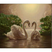 """DIY Paint By Number 16""""*20"""" Kit Romantic Double Lover Swan Painting On Canvas d"""
