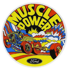 Ford Muscle Power circular exterior window sticker / decal - Hot Rod retro