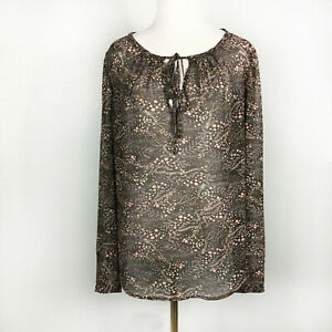 Ann Taylor Loft Womens Popover Blouse Top V Neck Tie Sheer Long Sleeves Size S