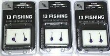 13 Fishing Purple Tungsten Jigs (Lot of 3-#14/1/64-2/pk)