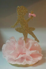 BALLERINA PINK GOLD BIRTHDAY PARTY BABY SHOWER CENTERPIECE TABLE DECOR