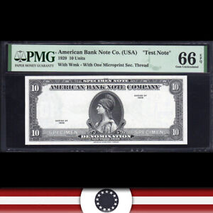 """1929 $10 AMERICAN BANK NOTE """"TEST NOTE"""" PMG 66 EPQ  575-004"""