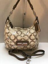 NWT COACH 16791 Beige Kristin Sequin Op Art Shoulder Handbag Crossbody