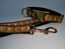 """Dog Collar and LEAD 8"""" - 12"""" neck size.  FREE FABRIC DESIGN Gold Metal Buckle"""