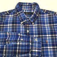 Ralph Lauren Button Front Shirt Men's Large Blue Plaid 100% Cotton Recent Label