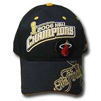NBA MIAMI HEAT REEBOK 2006 CHAMPS BLACK CAP HAT ADJ NEW