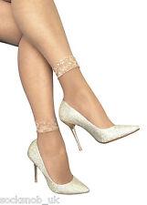 2 Pairs Ladies Lace trim fishnet ankle Socks  - 4-7 uk, 37-41 eur - Natural Nude