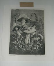 Toadstools and Frog Etching, Evelynne Mess Listed Indiana Artist