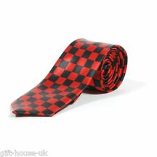 Black and Red Check Neck Tie for Office Fancy Dress in Checkered Check Pattern